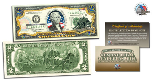 colorized authentic 2 dollar gift bill *UNITED STATES MARINES WORLD WAR ll