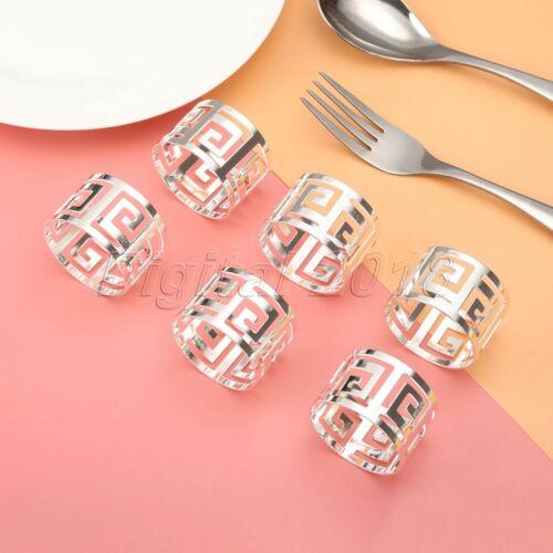 6Pcs Serviette Napkin Rings Holder Buckle Dinner Towel Wedding Party Table Decor