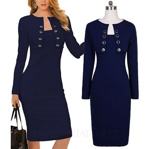 Party-Dress-Ladies-Pencil-Office-womens-long-sleeve-cardigan-fashion-Size-tata