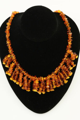 Libre forme PIECES Genuine Baltic Amber Frange Collier 33 g n170914-4
