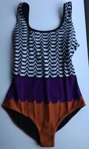 NWT Authentic MISSONI MARE Multicolor ZigZag-Print One-Piece Swimsuit Sz 44 EU