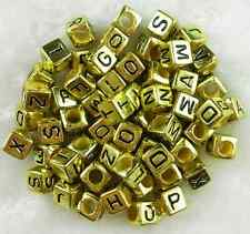 100 pcs 6mm Acrylic Gold Electroplat Alphabet Letter Coin Square Flat Beads