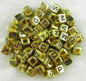 100-pcs-6mm-Acrylic-Gold-Electroplat-Alphabet-Letter-Coin-Square-Flat-Beads