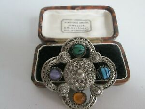 VINTAGE-CELTIC-SCOTTISH-IRISH-WELSH-POLISHED-AGATE-SILVERTONE-BROOCH-KILT-PIN