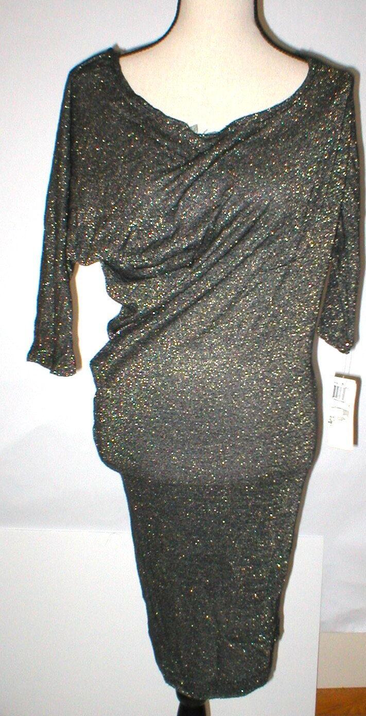 NWT 6 New French Connection Metallic Gold Dress schwarz Weiß damen Sexy Sleeves