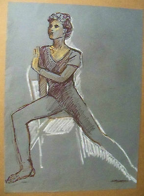 """""""DANCER POSE"""" by Ruth Freeman INK SKETCH WITH PASTEL 16 3/4"""" X 23"""""""