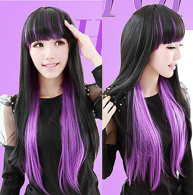 Harajuku Wig Black and Purple gradient wind animation dance