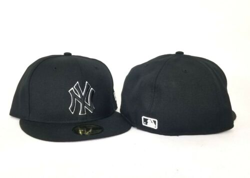 New Era 59Fifty Black with White Outline New York Yankees Logo fitted hat