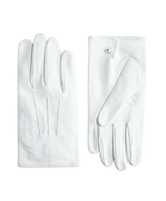 Brooks Brothers White Leather Gloves S Italy