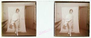 Femme-Actrice-Photo-PL47L15-Stereo-Plaque-de-verre-Vintage-c1920