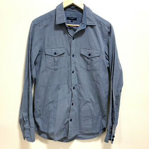Ted-Baker-London-Mens-Long-Sleeve-Shirt-Size-3-Blue-amp-White-Check-Pattern