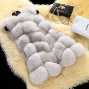 Women-039-s-Warm-Gilet-Outwear-Long-Slim-Vest-Faux-Fox-Fur-Waistcoat-Jacket-Coat
