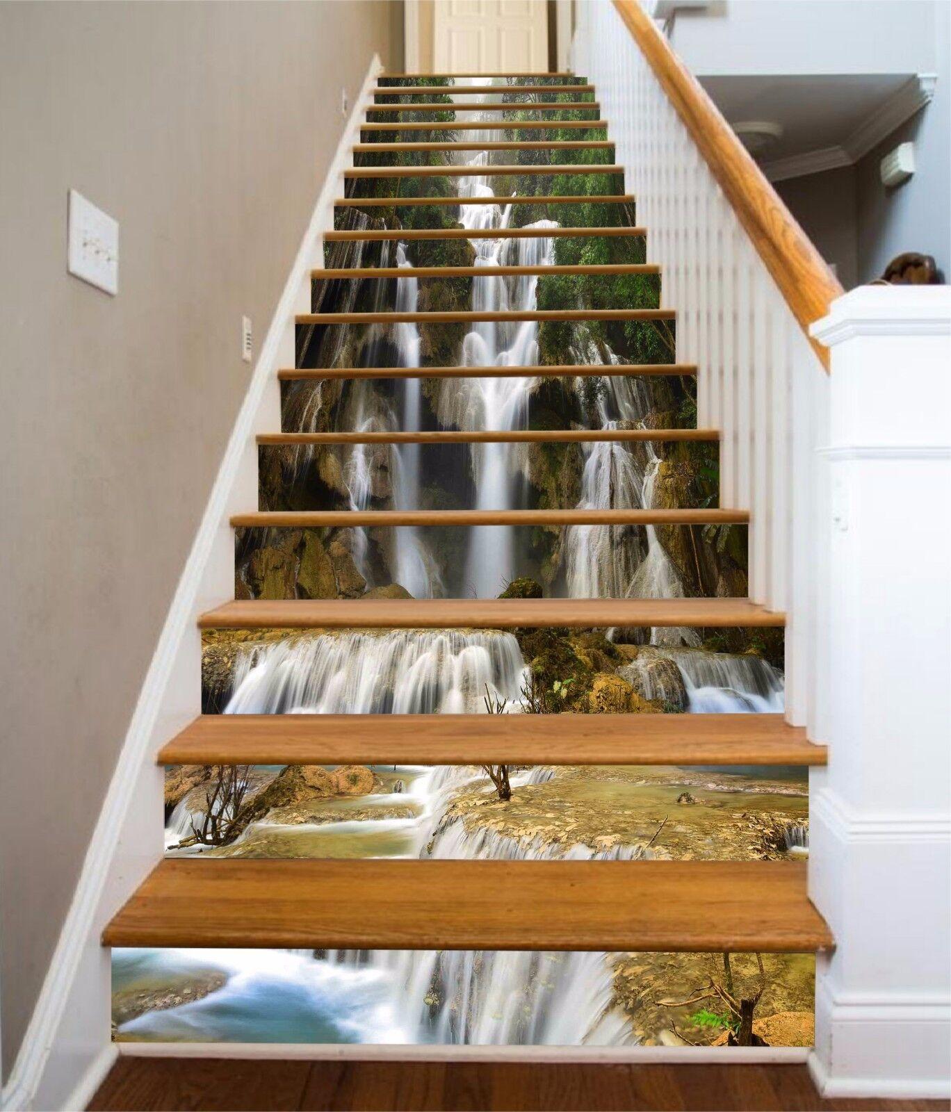 3D Mountain falls 7 Stair Risers Decoration Photo Mural Vinyl Decal Wallpaper UK