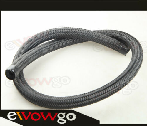 6AN AN6 Nylon Cover Braided 1500 PSI Fuel Oil Gas Line Hose Foot Black