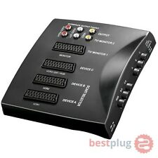 Verteiler Umschaltbox Umschalter Switch 4x Scart Skart 2x Cinch Audio Video