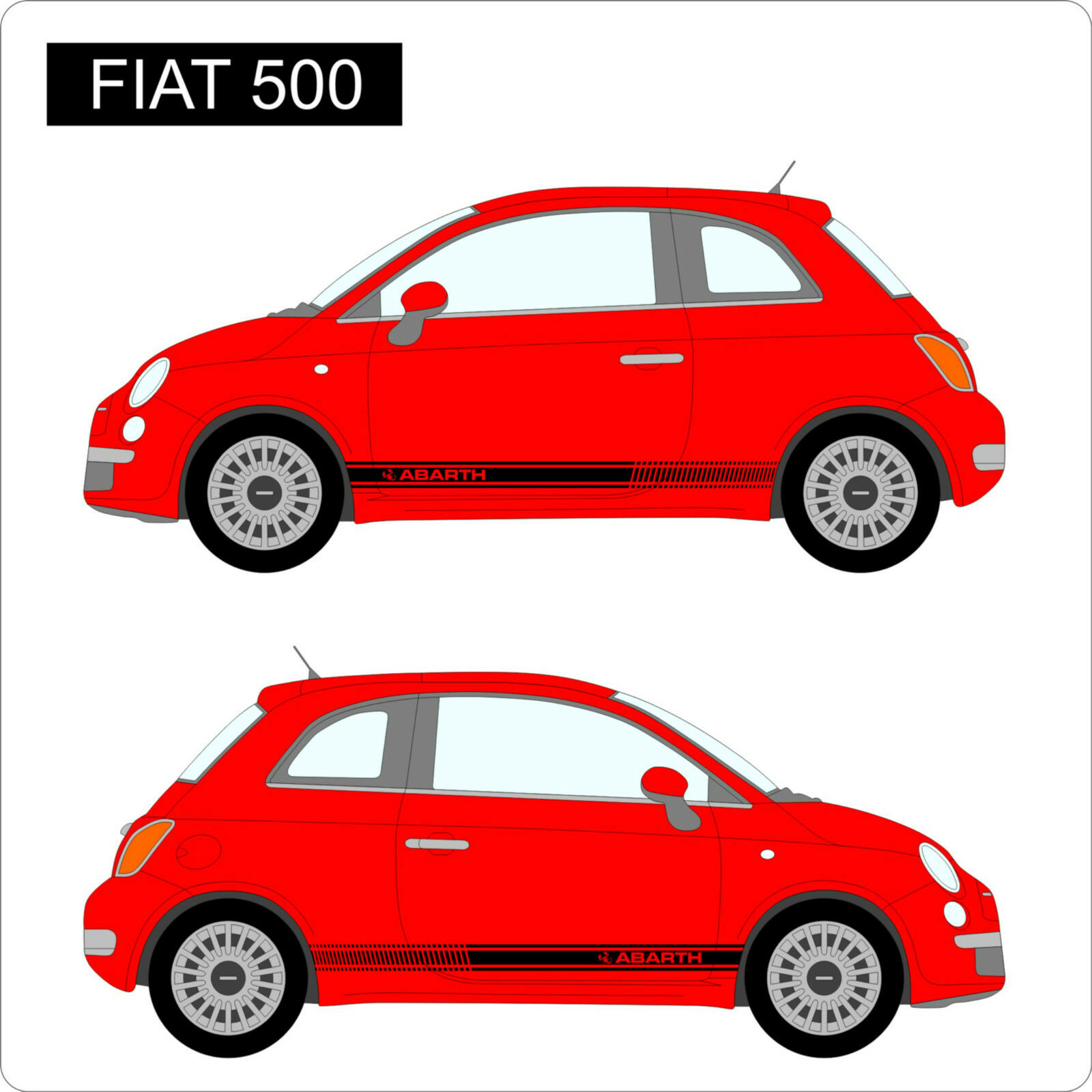 Fiat 500 abarth side stripes custom car stickers decal vinyl graphics