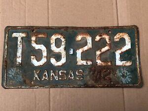 1942-Kansas-License-Plate-T59-222-Stafford-County-Original-42-Truck