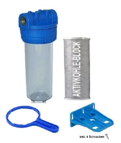 Filtergehäuse Set 10 - 1/2 IG mit AKTIVKOHLE Filter Wasserfilter Osmose Anlage