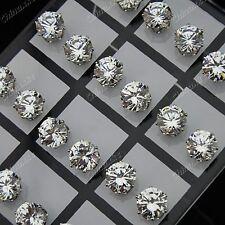 Wholesale Jewelry 24pcs 8mm Cubic Zirconia Stainless Steel Womens Stud Earrings
