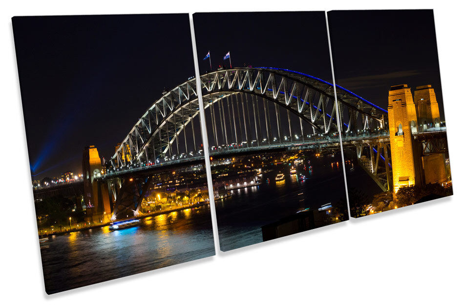 Bridge Harbour Sydney Australia TREBLE CANVAS WALL ART Picture Print