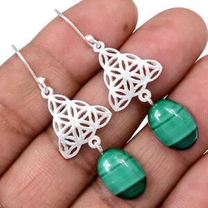 Malachite-Congo-925-Sterling-Silver-Earrings-Jewelry-AE100351-122R