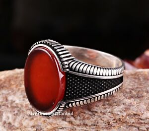 Turkish Handmade 925 Sterling Silver Red Agate Aqeeq Mens Mans Ring ALL SİZE uss