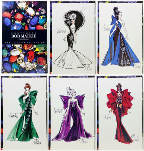 Barbie Bob Mackie Jewel Essence Collection Portfolio Original Designs Sketches
