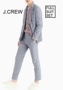 J.CREW Ludlow suit classic cotton linen light gray blue 36R blazer 31 x 32 pants