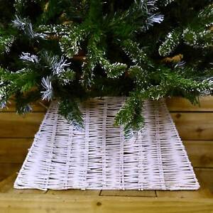 Natural Christmas Wicker Tree Skirt White Washed Premier Decorations