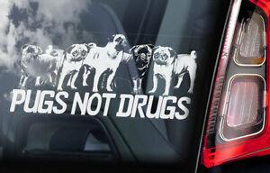 Pugs-No-Drugs-Coche-Ventana-Pegatina-Perro-Carlino-a-Bordo-Signo-Forma-Idea