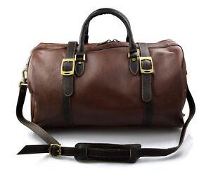 Dettagli su Borsone pelle uomo donna borsa viaggio con manici e tracolla vera pelle marrone