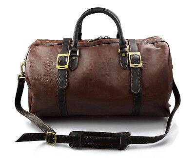 Borsone pelle uomo donna borsa viaggio con manici e tracolla vera pelle marrone | eBay