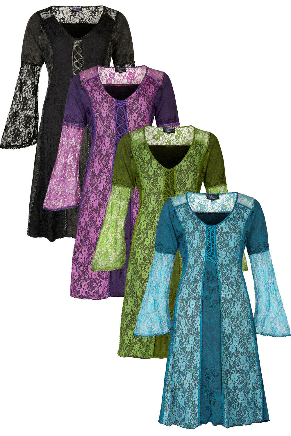 New Lace Fairy Dress Bell Sleeves Pagan Style Clothes up to PLUS SIZE