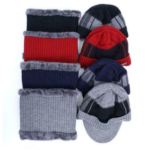 Men Winter Warm Hat Knit Visor Beanie Fleece Lined Billed Beanie with Brim Cap