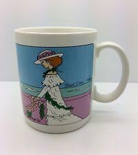 DIANA HANSEN YOUNG Boat Day Hawaii Mug 1992 Art Lady Flowers Mountain Ocean