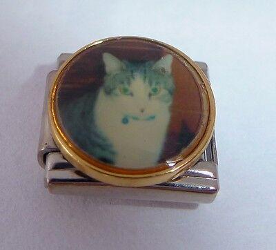 GREY & WHITE CAT Italian Charm - fits Classic Starter Bracelets - Pets Meow CT59
