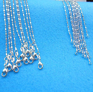 Wholesale-10PCS-Fashion-Jewelry-925-Sterling-Silver-Plated-Column-Ball-Necklaces