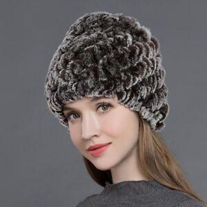 d3d9e2161 Details about Natural Rex Rabbit Fur Hats Women s Winter Thick Warm Beanies  Caps Brown Arrival