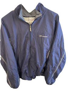 Reebok Vintage Jacket Mens Blue Full Zip Up Large 90's Windbreaker