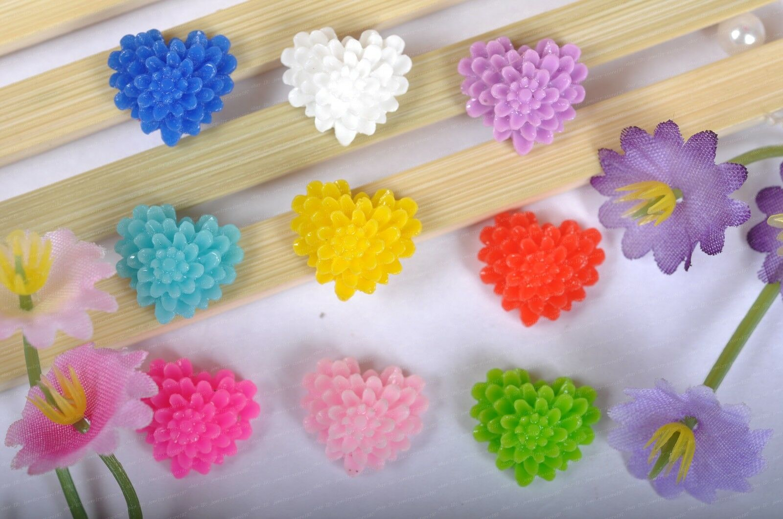 Free Ship  Wholesale  20pcs Resin Flower Flatback Cabochons 17X8MM 10 Colors