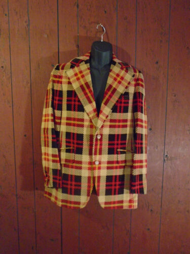 Men's 1970's Plaid Velvet Corduroy Jacket