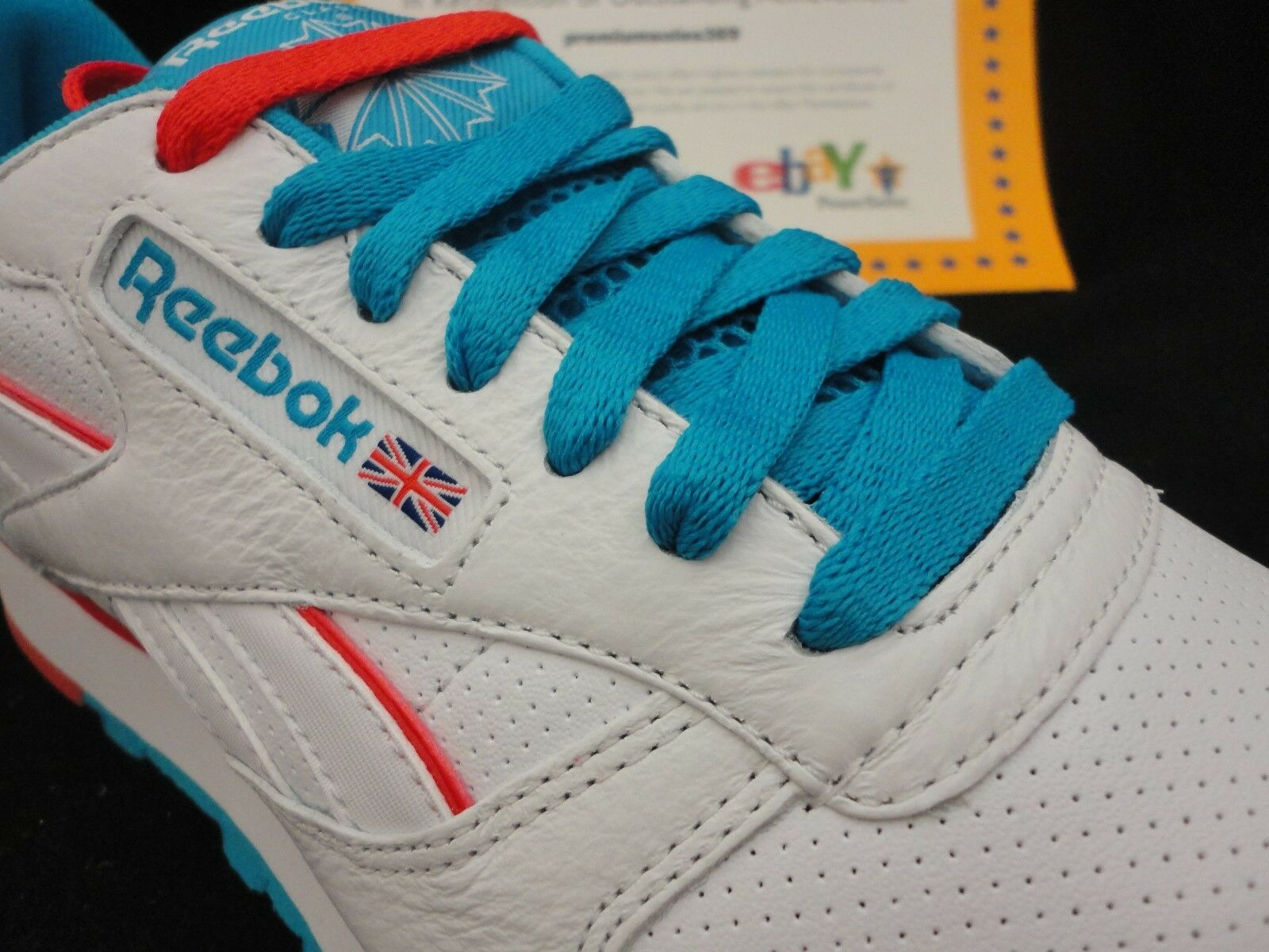 Reebok Classic Pelle Perf, White / Blue / Red, Size 12