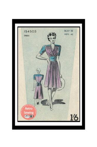 1940/'s WW2 Tea Dress Vintage Sewing Pattern