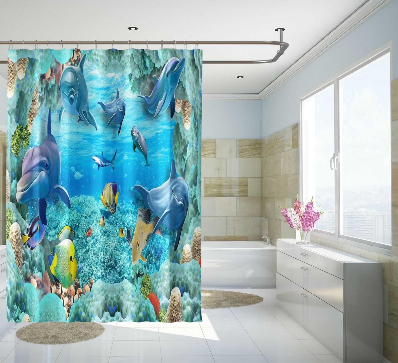 3D Dolphin 46 46 46 Shower Curtain Waterproof Fiber Bathroom Home Windows Toilet Lemon b2581b