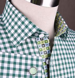 Men 39 S Green Gingham Check Formal Business Dress Shirt