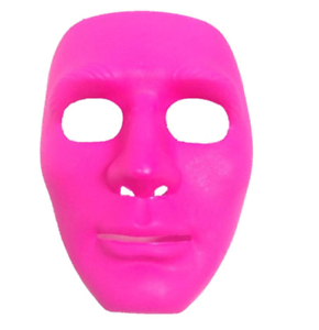 Neon Pink Full Face Plastic DIY Mask Masquerade Party ...