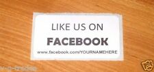 LOT OF 200 WHITE LIKE US ON FACEBOOK CUSTOM YOUR NAME HERE Shipping Stickers 2X1