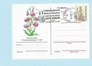 AUSTRIA, privat ill. prestamped PC, CTO FDC 1986, flower Lilly