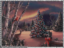 Tree in Forest w Animals Lighted Christmas Canvas 3111354 NEW RAZ