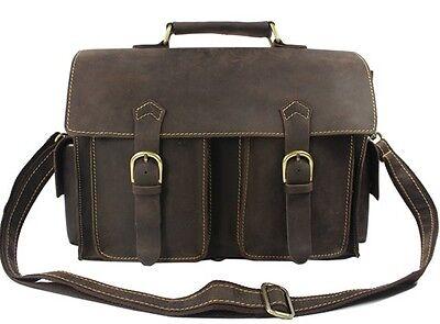 Cool Men Brown Full Grain Real Leather Tote Bag Shoulder Bag messenger Briefcase
